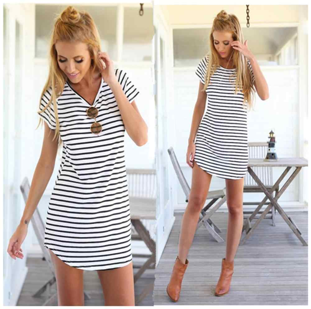2019 Summer Round Neck Women 's Dress Black White Stripes Print Dress Chic Party Short Sleeve Dresses Casual Wear