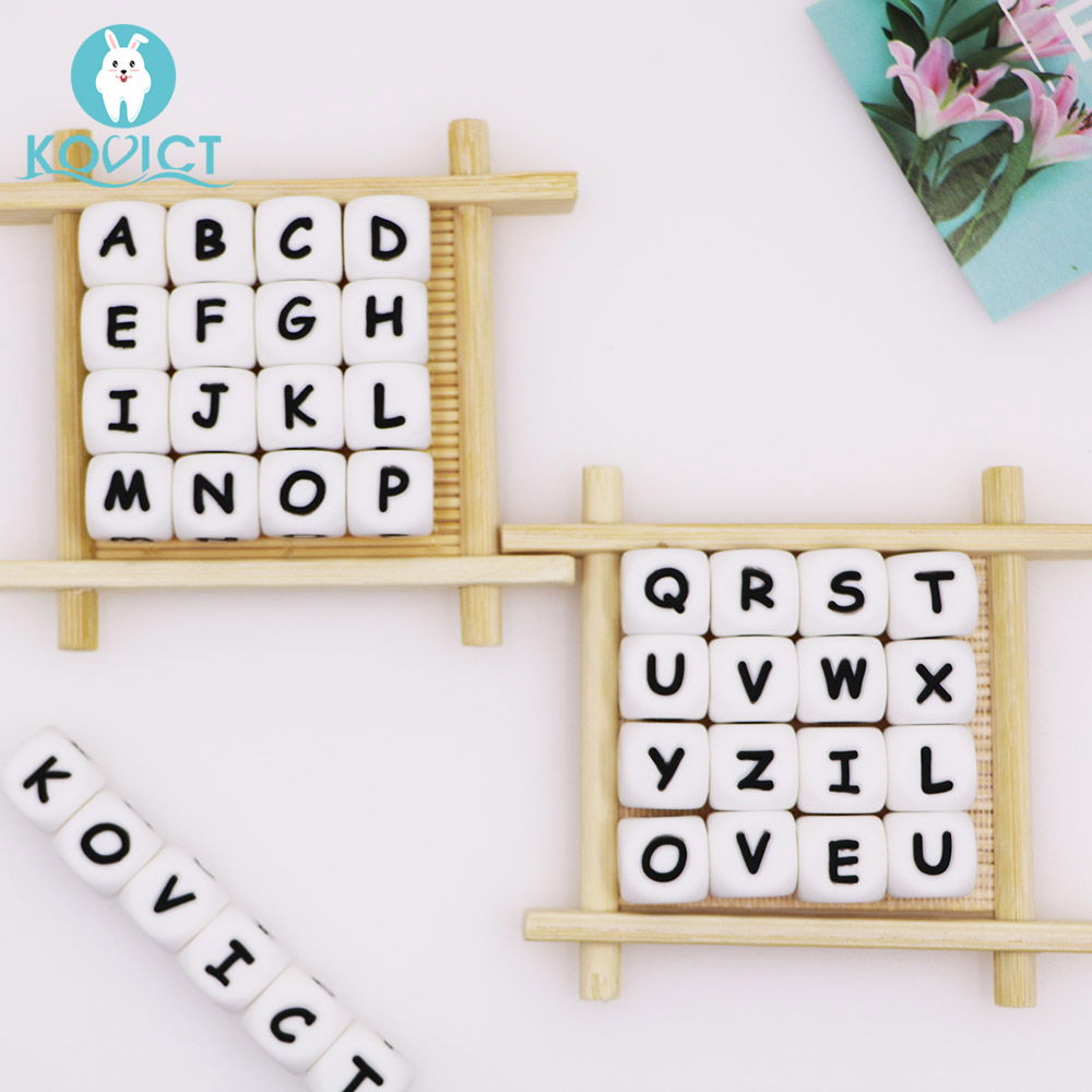 Kovict 12mm 10pc Letter Silicone Beads Baby Teether Beads Chewing Alphabet Bead For Personalized Name DIY Teething Necklace