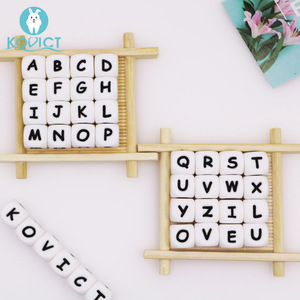 Kovict 12mm 10pc Letter Silicone Beads Baby Teether Beads Chewing Alphabet Bead For Personalized Name DIY Teething Necklace(China)