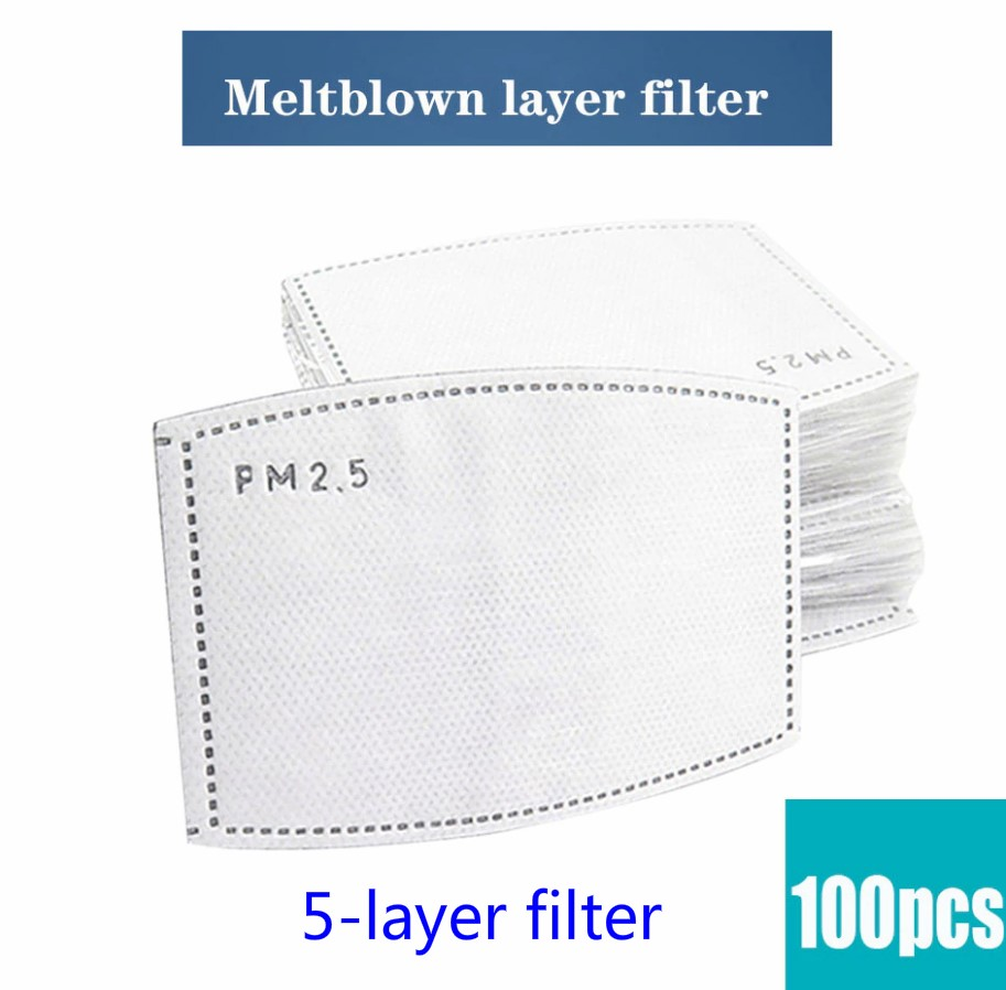 100Pcs Activated Carbon Filteres For Anti Dust Mouth Mask Replaceable Filters Mask On The Mouth 5 Layer Protection Mouth-muffle