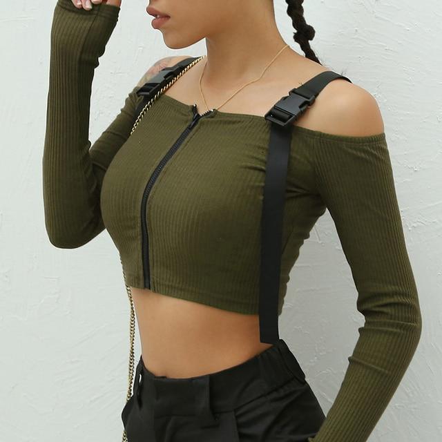 Spring T Shirt Women Long Sleeve T-shirt Crop Top 2020 Korean Fashion Style Feminina Knitted Cotton Black Sexy Short tshirt 5