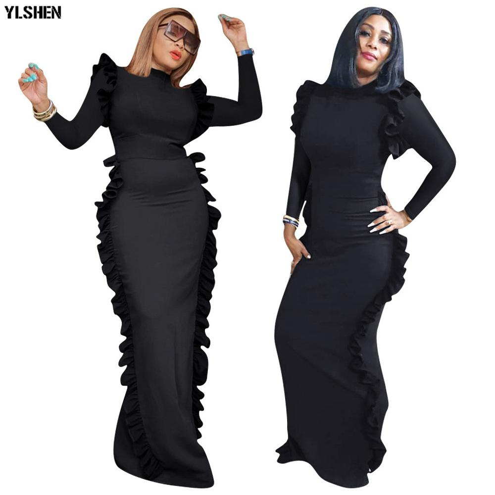 African Dresses For Women Basin Riche African Clothes Sexy Lace Long Sleeve Party Africa Dress Dashiki Robe Africaine Femme 2019