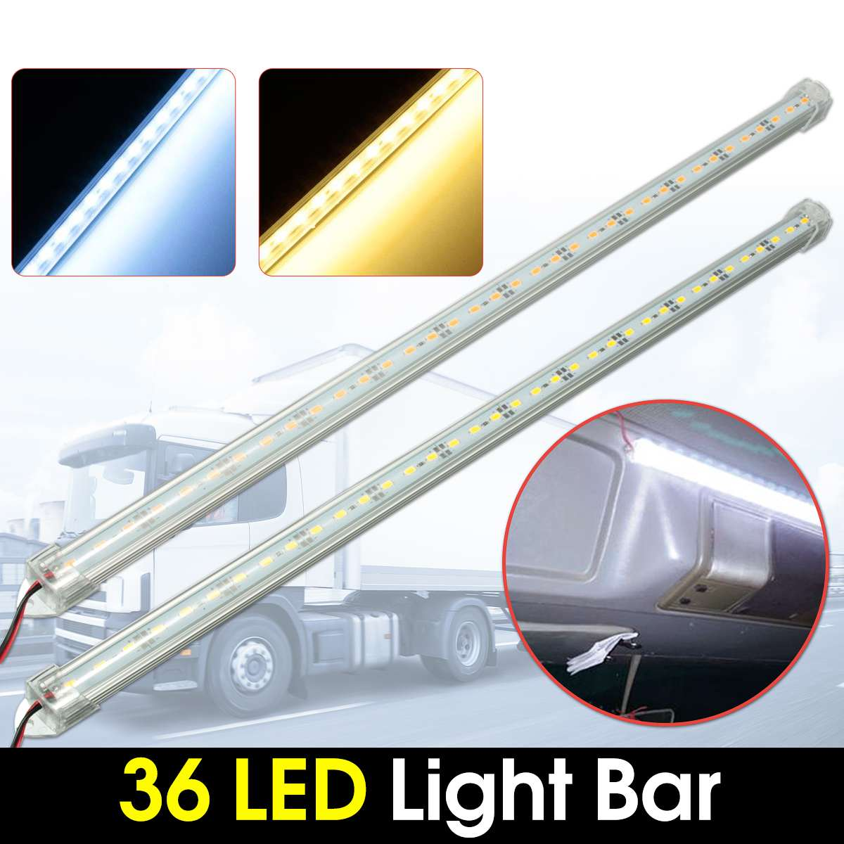 2pcs 50cm SMD 5630 36 LED 12V DC Car Interior Strip Light Bar LED Bar Van Boat Caravan Auto Warm Cold White PC Cover