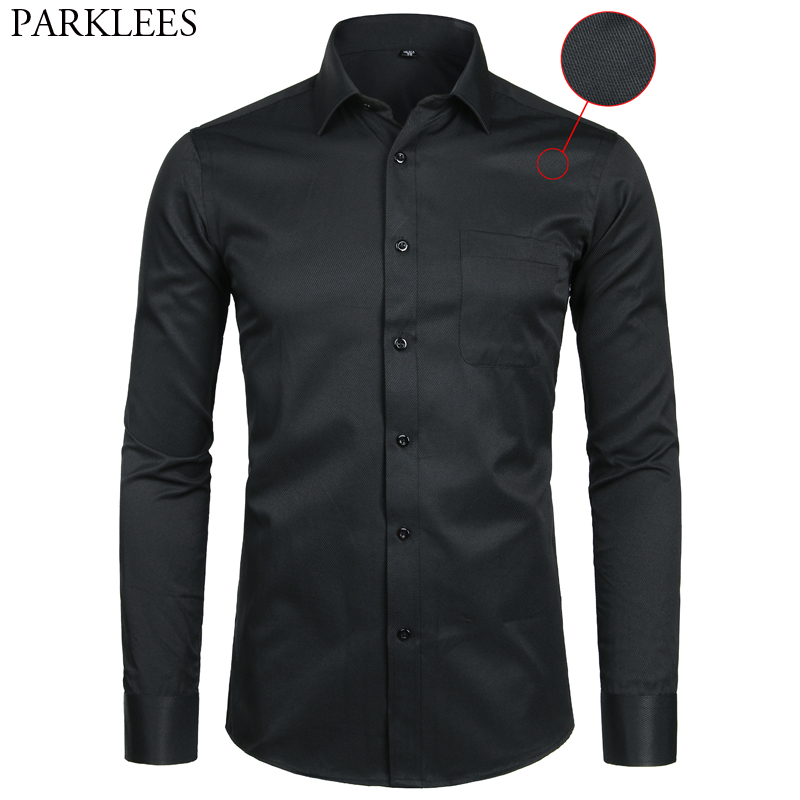 Men's Black Long Sleeve Dress Shirt Striped Twill Slim Fit Causal Business Formal Chemise Office Working Shirt With Pocket 8XL