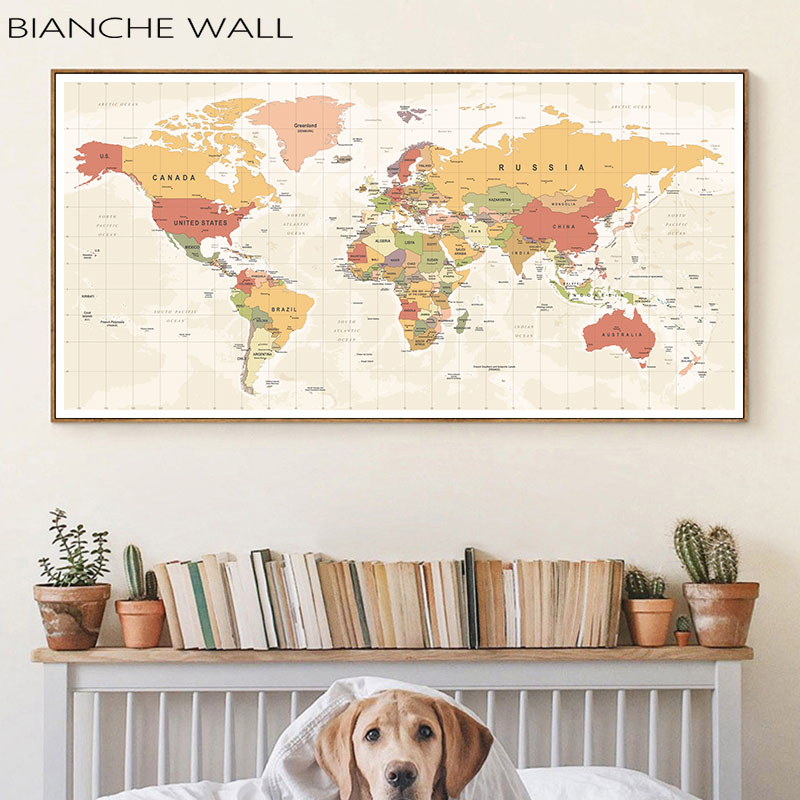 World Map Decorative Picture Canvas Modern Poster Nordic Wall Art Print Large Size Painting Modern Study Office Room Decoration