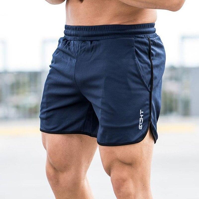 Men Summer Slim Shorts Gym Fitness Bodybuilding Running Jogging Training Male Short Pant Knee Length Breathable Mesh Sportswear