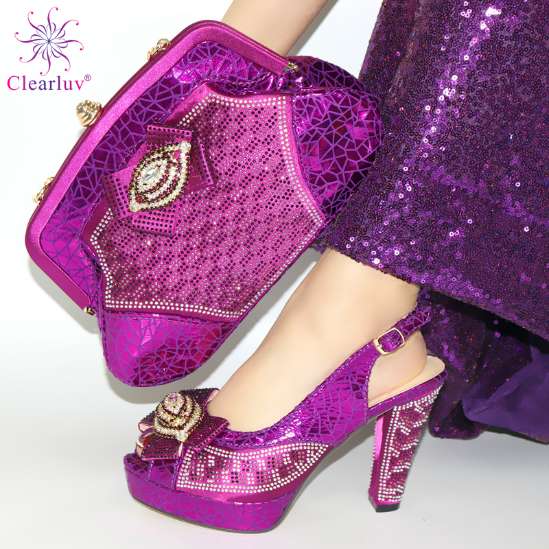 2020 heels Italian Lady High Quality Shoes and Bag Set in purple Color Nigerian Women Matching Shoes and Bag for Party