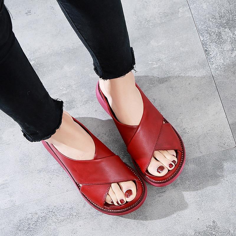 Women Slippers 2020 ZIMNAFR Retro Women Handmade Genuine Leather Women Sandals Fat Round-Toe Slipper Female Platform Sandals