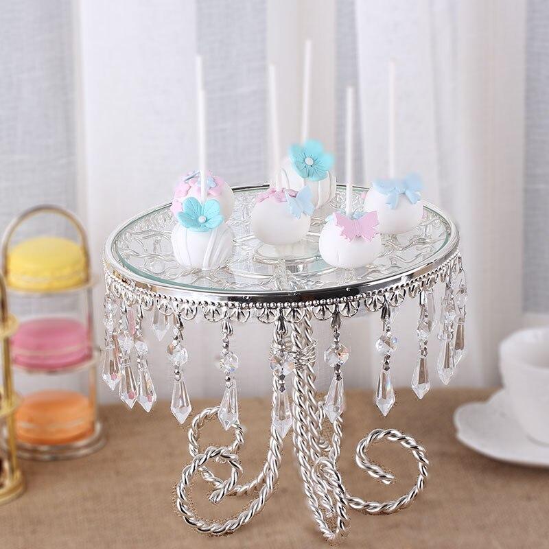 Plateau à Dessert de mariage avec pendentif en cristal décor assiette à gâteau en vente bébé douche spectacle plateau miroir argent