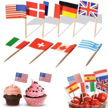 1pcs Toothpick Pick Flags Countries Canada Flags Art Toothpicks Party Sticks Cupcake/Cake/Pie/Fruit/Ice Cream Topper Decoration image