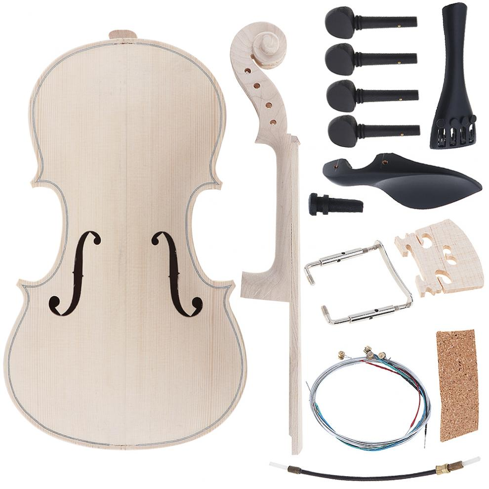 4/4 Size Violin DIY Kit Natural Solid Maple Full Set Violin Parts Handwork Support Painting Children