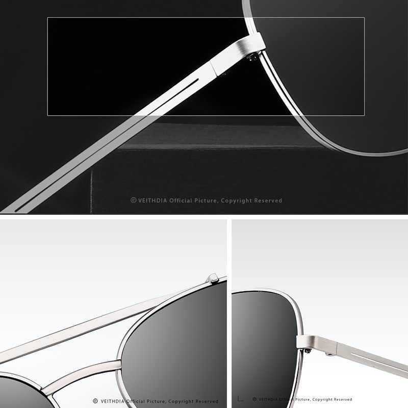 VEITHDIA ÓCULOS de Marca Óculos de Sol do Vintage Dos Homens Óculos De Sol Quadrado de Aço Inoxidável Acessórios UV400 Lens Masculino Óculos Polarizados Para Homens