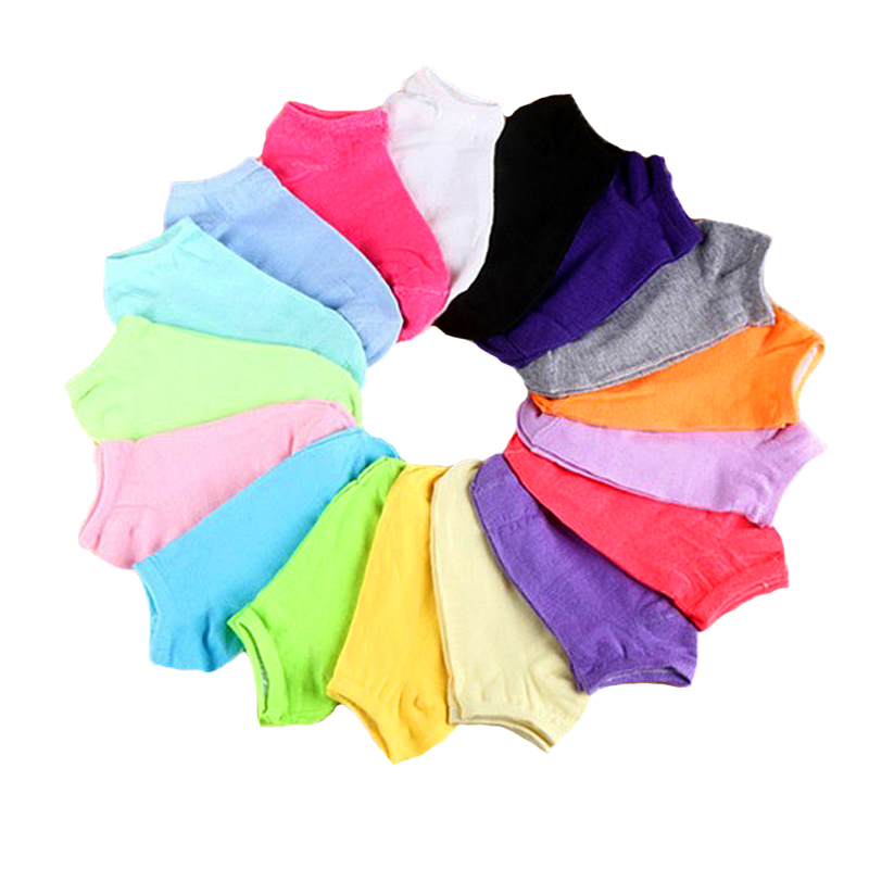 10pcs/5Pair Female Solid Low Cut Socks Short Socks Women's Slippers Spring Summer Cotton Blend Ankle Boat Socks