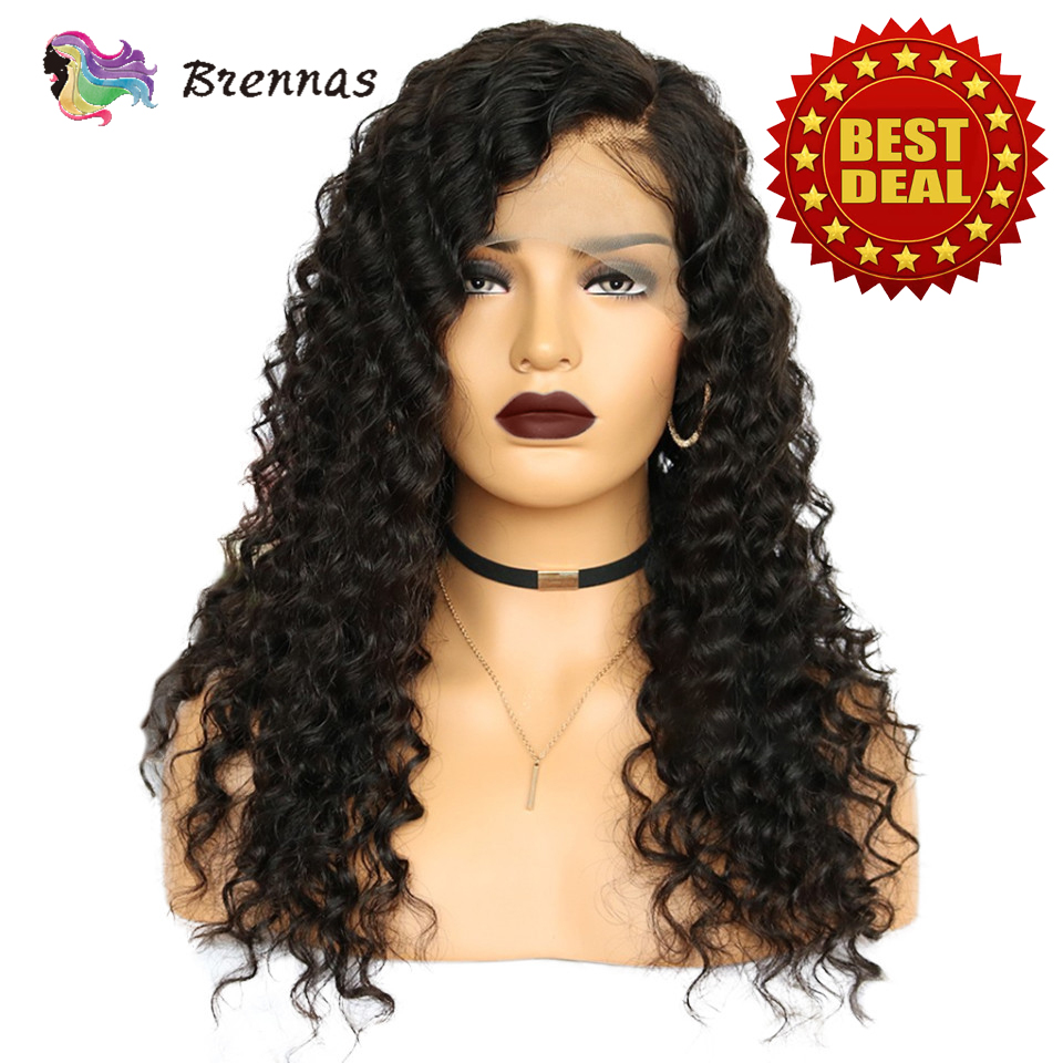 Glueless Deep Curly Lace Front Wigs Brazilian Human Remy Hair Lace Wig Bleached Knots Baby Hair Natural Black Color For Women