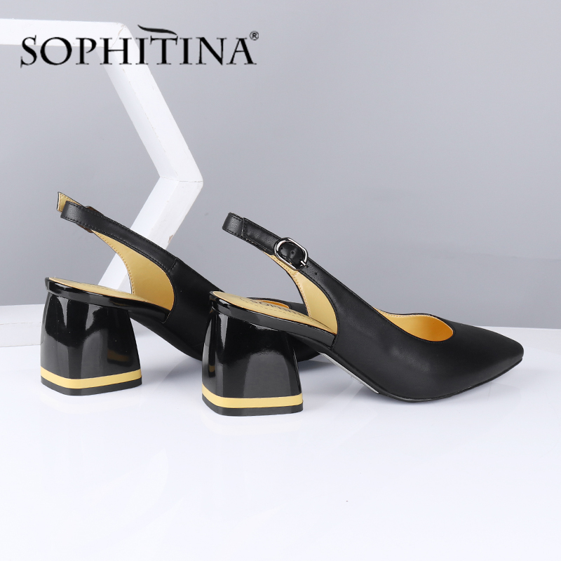 SOPHITINA Fashion Women Pumps Contrast Color Buckle Strap Solid High Square Heel High Quality Sheepskin Shoes Party Pumps SC585