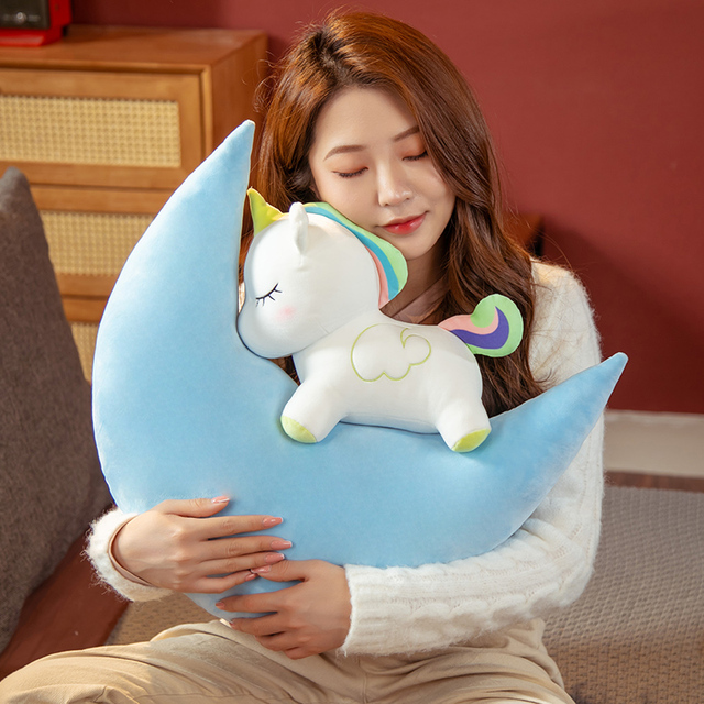 60cm INS White Unicorn Colorful Moons Pillow Down Cotton Stuffed Sleeping Kawaii Animal Decor Pillow Baby Kids Present 2
