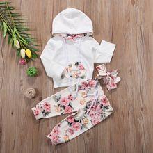 Комплект из 3 предметов Одежда для младенцев, комплект рождественской одежды для сна, для девочек верхняя одежда с капюшоном и цветочным принтом, футболка+ леггинсы с повязка на голову; комплект одежды из 3 предметов, спортивный костюм