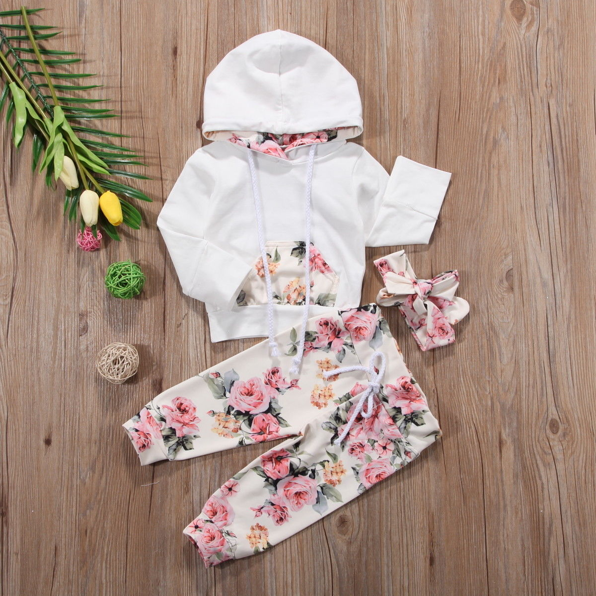 3 Pieces Infant Toddler Clothes Set Baby Girls Floral Hooded Tops+Leggings Pants With Headband 3Pcs Outfits Tracksuit