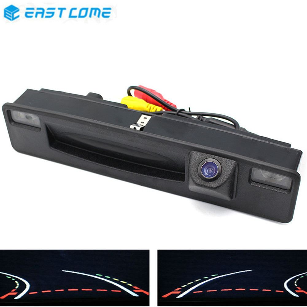 MCCD 1080P Trajectory Tracks Reverse Parking Car Rear View Camera Trunk handle For <font><b>Ford</b></font> <font><b>Focus</b></font> 2015 2016 <font><b>2017</b></font> Car Camera image