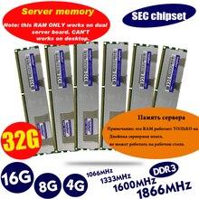 Dissipateur thermique, 1333/1600/1866/1333MHz, 4 go DDR3, dissipateur thermique, mémoire de serveur ECC, 8 go, 8 go, 16 go de RAM, x79, LGA 1600, PC