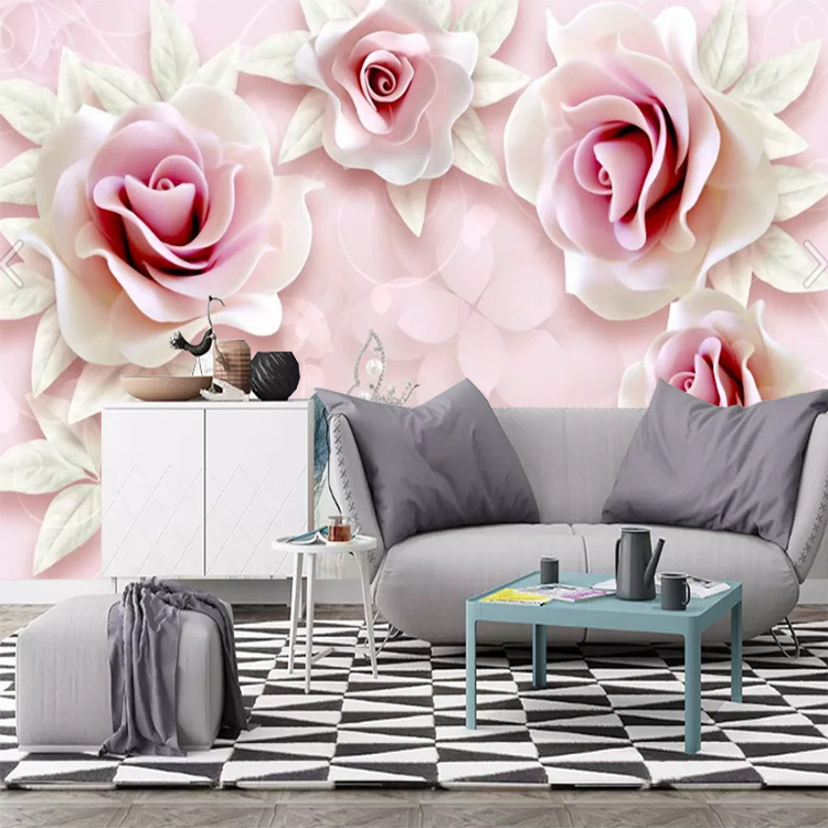 Customizable Living Room Sofa Wallpaper Mural Fresh Simple 3D Relief Pink Roses 3D TV Backdrop