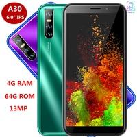 Teléfono Inteligente A30 Global, quad core, 4GB RAM, 64GB ROM, 13.0mp, 6,0 pulgadas, android, identificación facial, desbloqueado, 3G, wifi, 2SIM