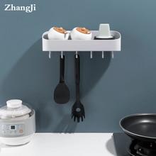 ZhangJi Self-adhesive Kitchen Bathroom Rack Shelf Multi-function storage shelves with hooks powerful Storage Organizer washable