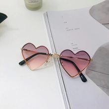 Модные детские солнцезащитные очки в форме сердца без оправы