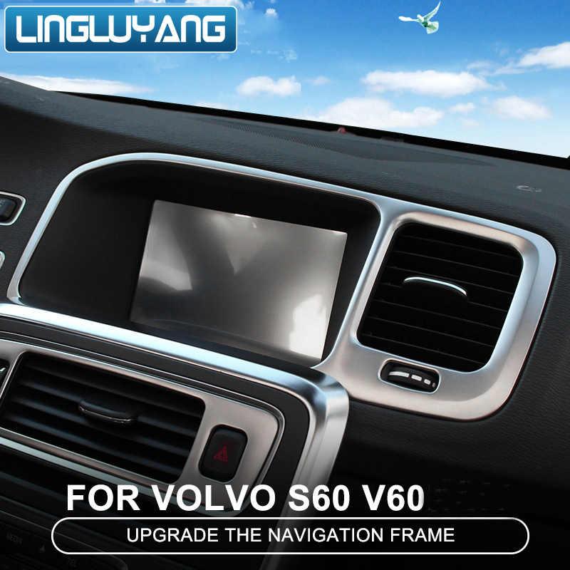 1Pcs Stainless steel Center Console GPS Navigation Frame Trim For Volvo S60 V60