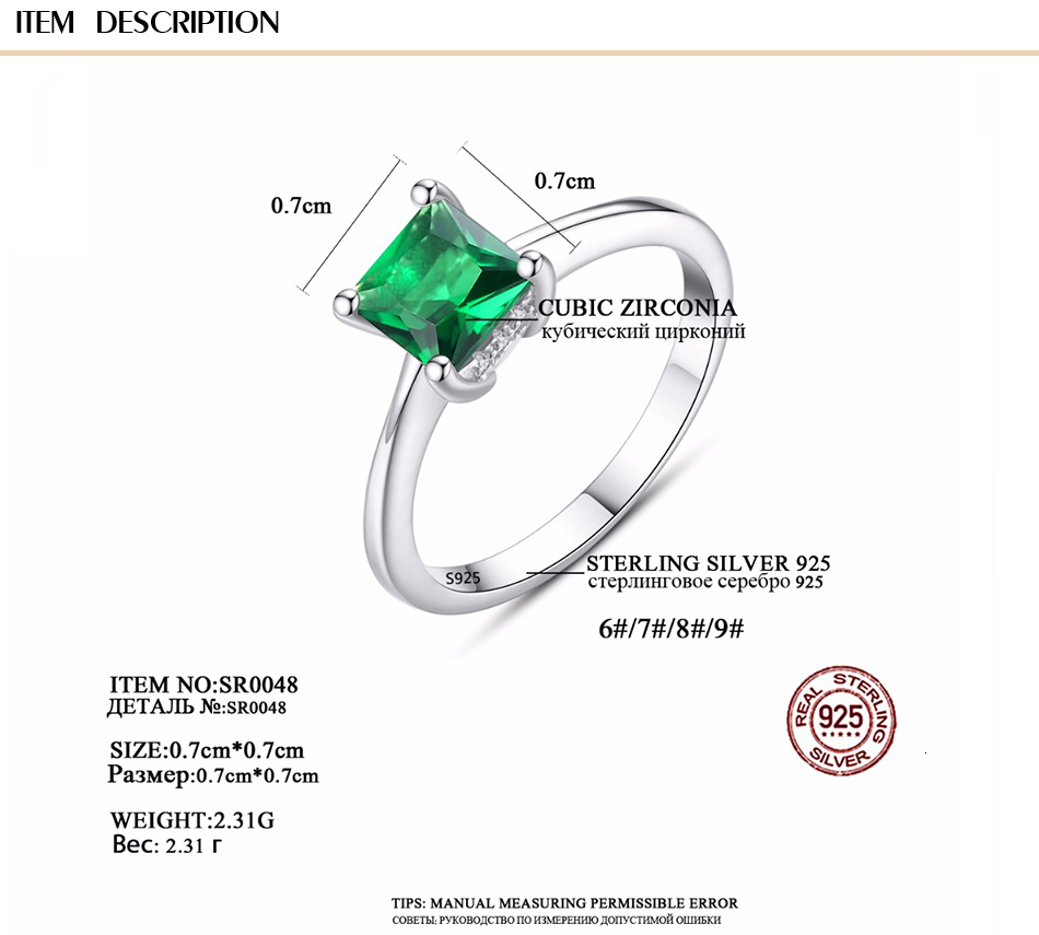 CZCITY Emerald Simple Female Zircon Stone Finger Ring 925 Sterling Silver Women Jewelry Prom Wedding Engagement Rings Brand Gift H48631da59a4e44c99fe3d4a535178dae9 ring