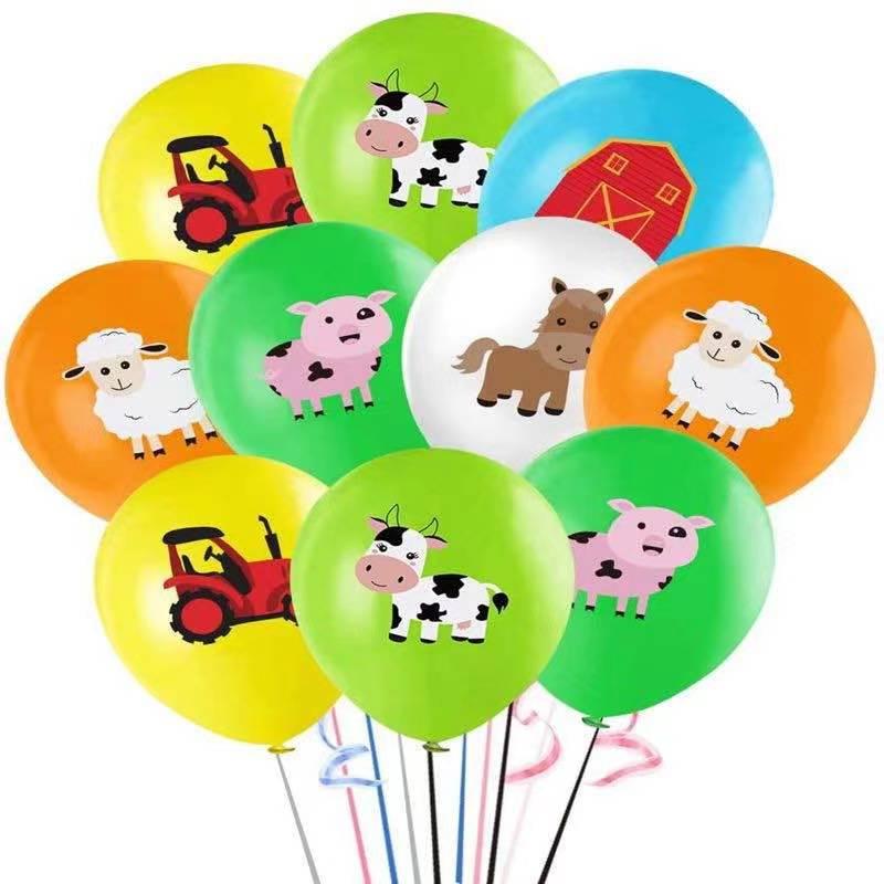 10 шт 12 дюймовый фермы воздушные шарики из латекса с животными на день рождения украшения домашних животных с изображением милой свинки для ...