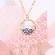 DIY Fuji Snow Mountain Necklace For Women Girls Hollow Out Round Star Enamel Lovely Pendant Necklaces Female Jewelry Gifts 2019 floral enamel hollow out pendant necklace