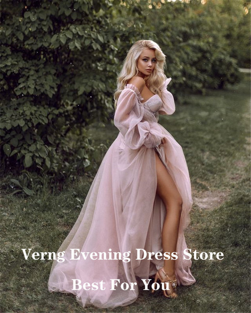 Verngo Dusty Pink Long Prom Dresses 2021 Off the Shoulder Sweetheart Tulle Romantic Elegant Princess Prom Party Gown Custom 6
