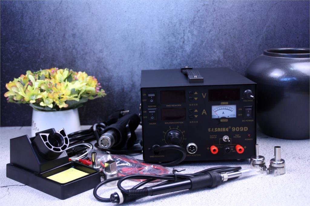 3 In 1 Hot Air Gun Rework Station SAIKE 909D Soldering Station Power Supply Soldering Machine 220V Or 110V