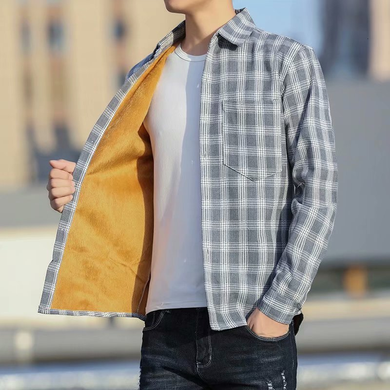 Winter Men Cashmere Long Sleeve Lattice Shirt Male Thickening Warm Plaid Fund Leisure Time Shirt Student Loose Loose Shirts