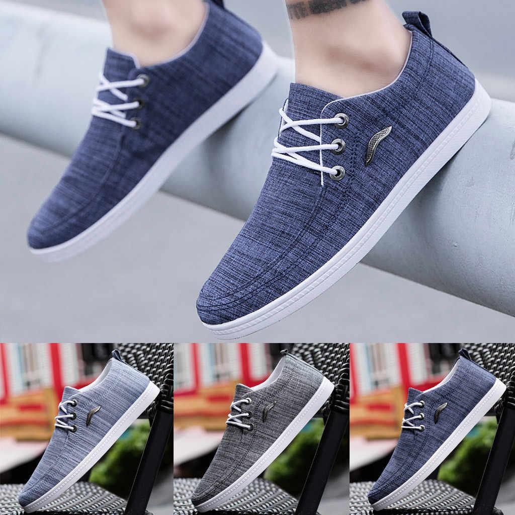 SAGACE รองเท้าแฟชั่นผู้ชายผ้าใบกลางแจ้งชายรองเท้า LACE-Up รองเท้าขี้เกียจ Breathable รองเท้าผ้าใบรองเท้าผ้าใบ trainers 2019
