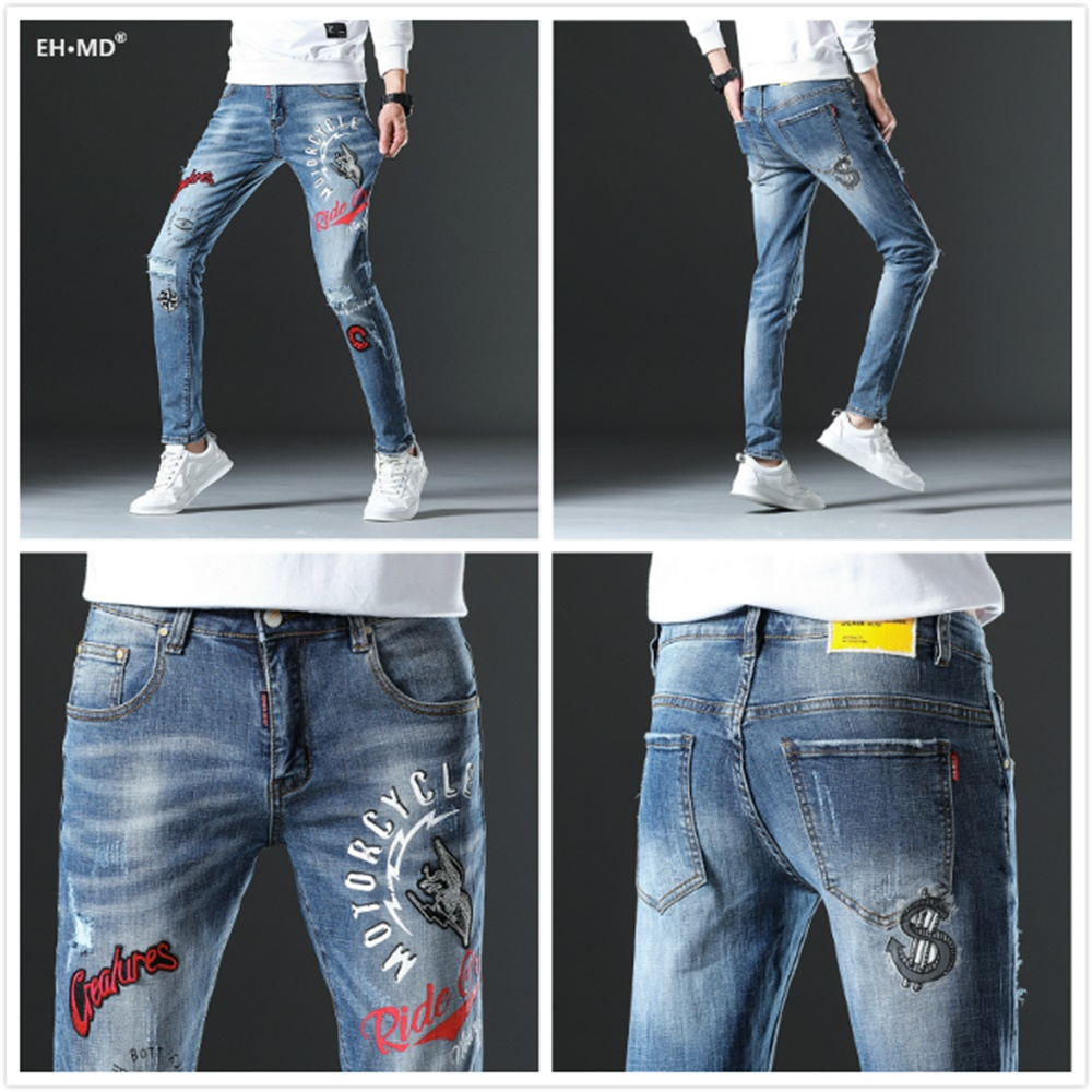 EH · MD® Elastic Trousers Badge Red Ears Hole Printed Letter Lined Jeans Men's Embroidery Youth Soft Fabric Casual Loose Cotton