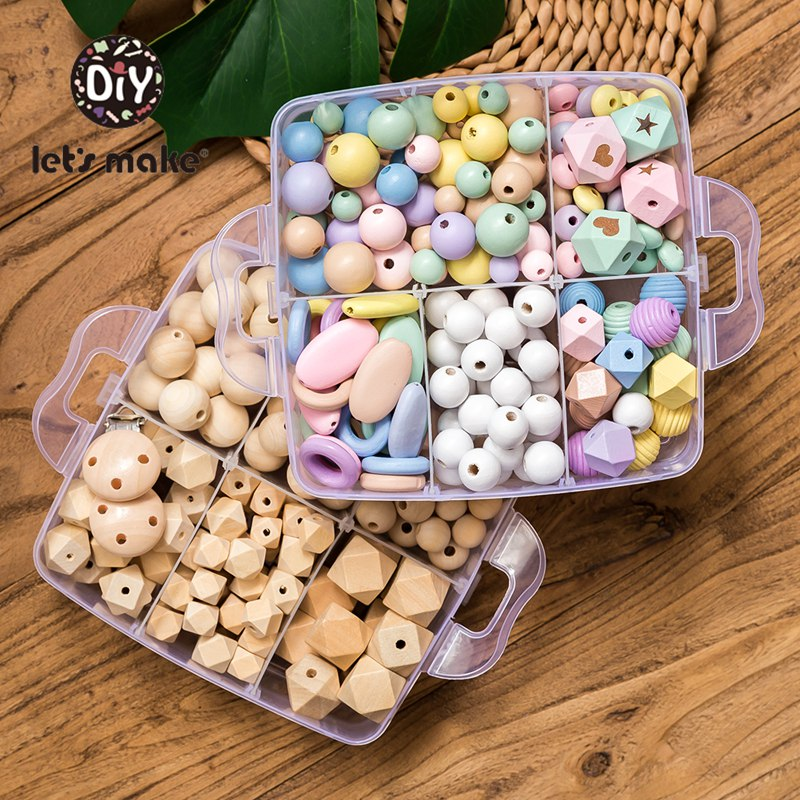 Let's Make Wooden Beads Set Food Grade Wood Hexagon Beads Geometric Beads Diy Pacifier Chain Wood Ring Teething Toy Baby Teether