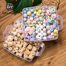 Let's Make Wooden Beads Set Food Grade Wood Hexagon Beads Geometric Beads Diy Pacifier Chain wood Ring Teething Toy Baby Teether let s make baby teether unfinished silicone hex beads set chewable food grade wooden beads diy teething necklace made beads