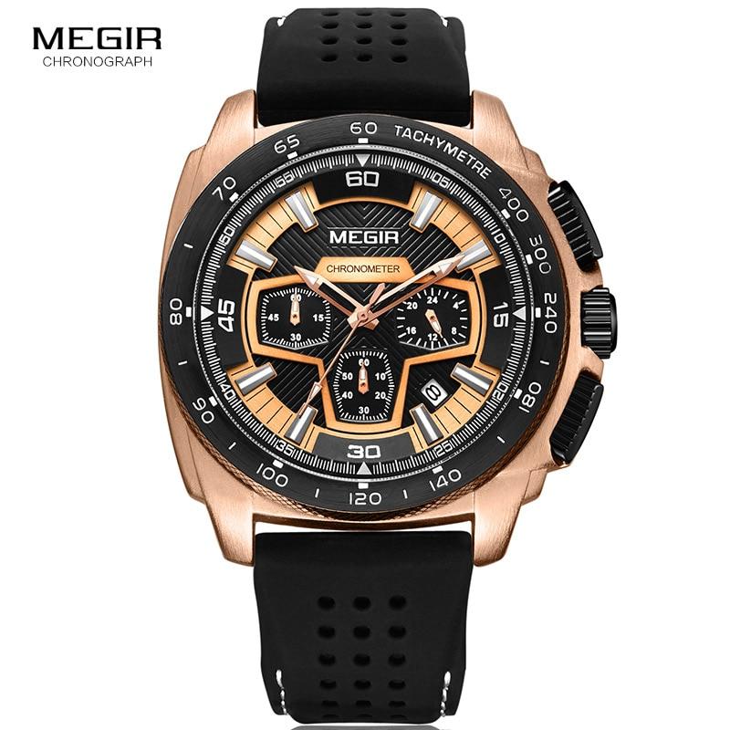 Megir Mannetjes Mens Chronograph Sport Horloges Met Quartz Uurwerk Rubberen Band Lichtgevende Horloge Voor Man Jongens 2056G-1N0 3