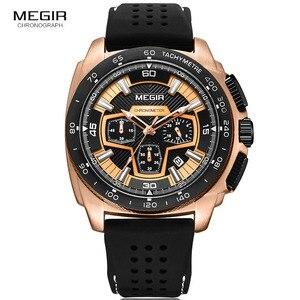 Image 3 - Megir זכרים Mens הכרונוגרף ספורט שעונים עם קוורץ תנועה גומייה זוהרת שעוני יד לגבר בני 2056G 1N0