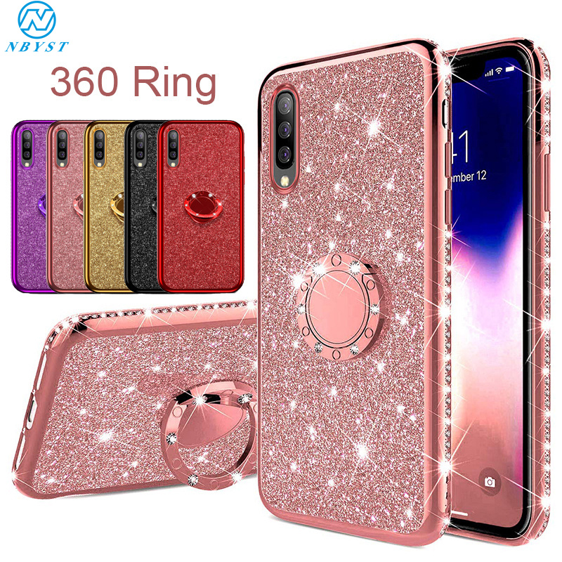 Glitter Bling <font><b>Case</b></font> for Huawei P20 P30 Pro Mate30 20 10 Lite P Smart Z <font><b>Honor</b></font> V30 10i <font><b>20i</b></font> 8A 8X 9X 10 Lite Y6 Y9 Ring Car Holder image