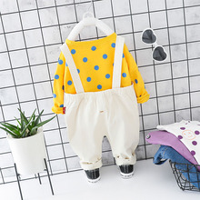 Toddler Newborn 0-4T Baby Boy Girl Cothes New Autumn Cute Outfits Long Sleeve Dot Print Top+Strap Trousers Casual 2pcs Sets #m недорого