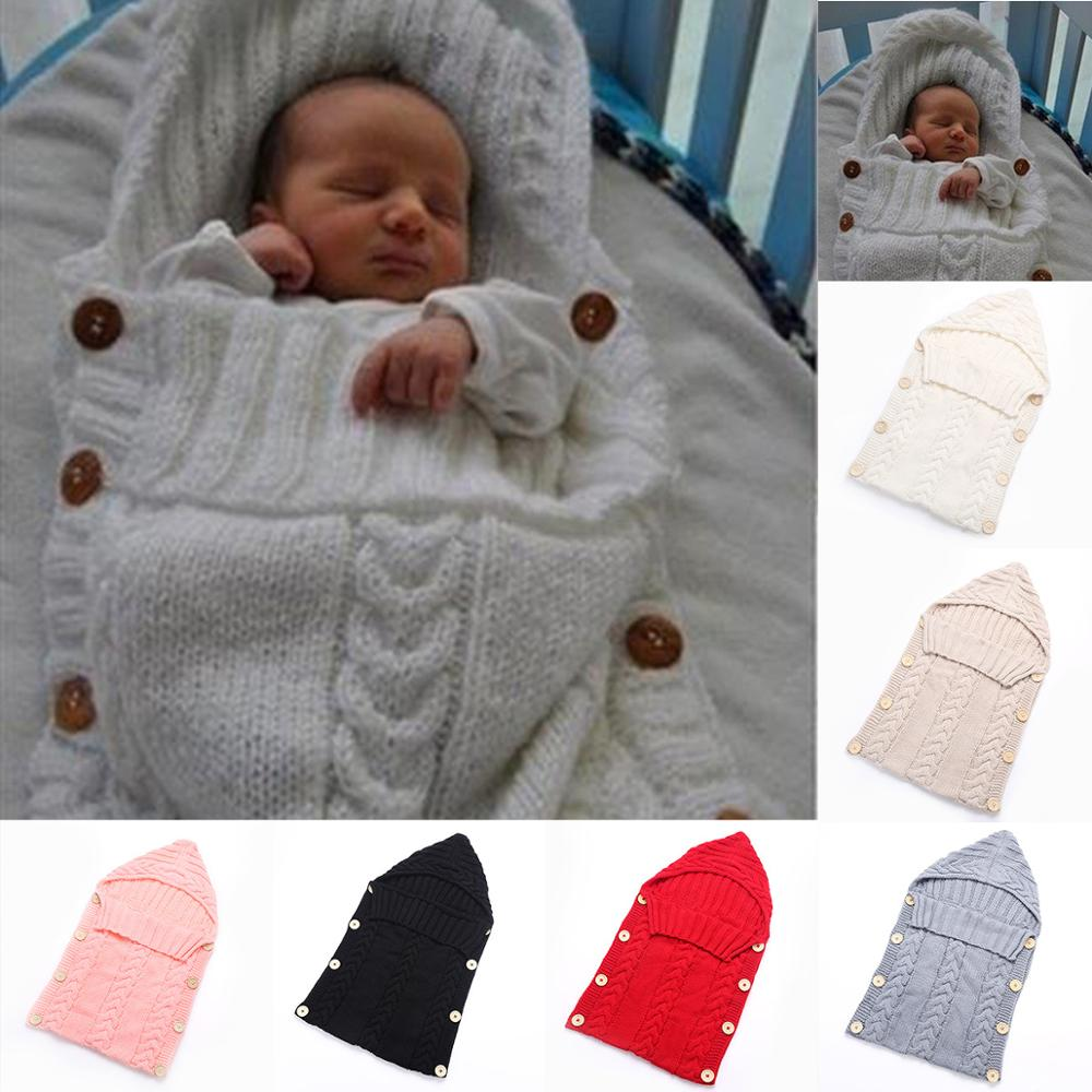 Baby Sleeping Bag Baby Knitted Crochet Hooded Solid Swaddle Wrap Infant 9 Colors Soft Swaddling Blanket Sleep Bag For Newborn