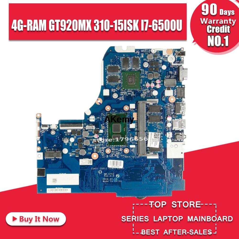 NM-A751 Laptop Motherboard For Lenovo 310-15ISK Original Mainboard 4G-RAM I7-6500U GT920MX