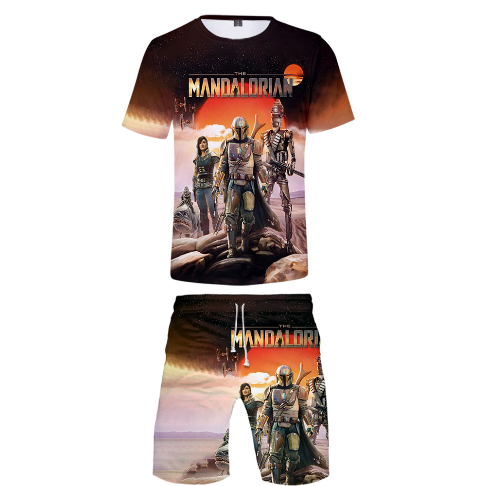 Mandalorian T Shirt+Shorts Men Tracksuits 2019 Summer Casual 3D Baby Yoda 2 Piece Outfit Men's Sportswear Harajuku Mens Clothing