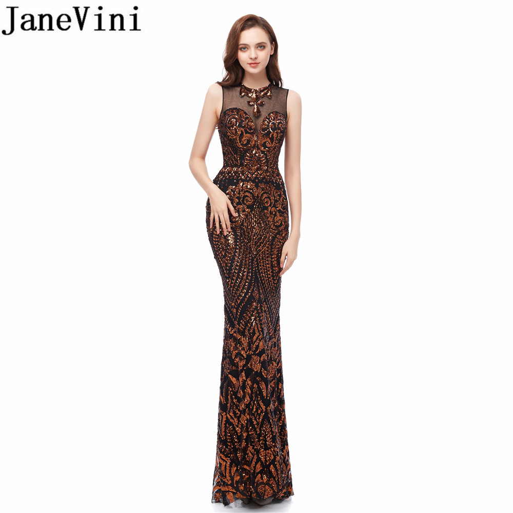 JaneVini Sexy Gold Long   Prom     Dresses   Mermaid Bling Bling Sequined African   Prom     Dress   Floor Length Ladies Evening Party Gown 2019