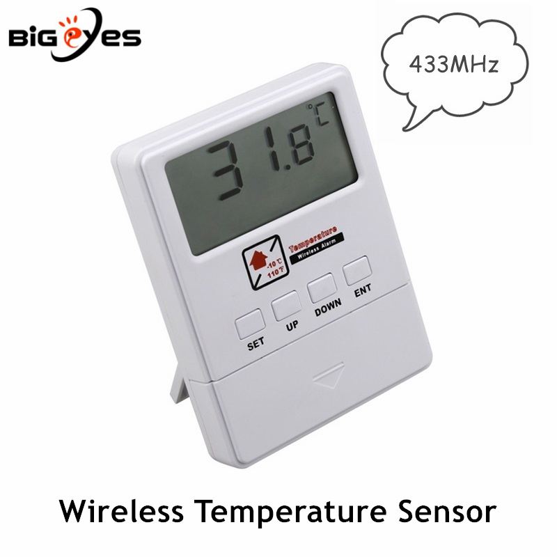 New 433MHz Wireless Temperature Sensor Support High & Low Temperature Alarm For Our Home Alarm System Temperature Detector LCD
