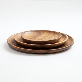 Drewno okrągłe talerze naczynia jedzenie ciasto owoce spodek deser obiad chleb Pizza herbata kawa tace przechowywanie tanie i dobre opinie CN (pochodzenie) Stałe Rectangle Drewna Round Support 15 20 25CM Acacia Wood