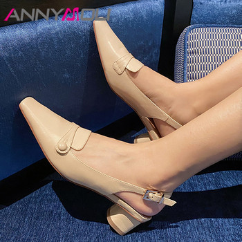 ANNYMOLI Woman Slingbacks Shoes Natural Genuine Leather Med Heels Buckle Thick Heel Pumps Button Square Toe Ladies Footwear 41